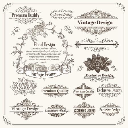 swirls: Vintage Vector Design Elements Collection. Typographic Labels, Floral Frames, Stamps Set for Scrapbooking, Invitation. Illustration