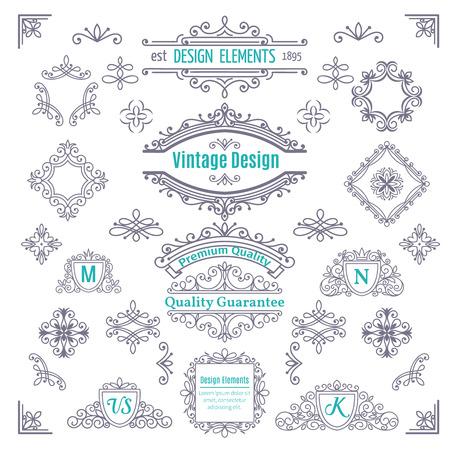 évjárat: Állítsa be a Vintage Vector Line Art Kalligráfikus Elements. Dekoratív elválasztó, határok, Kavarog, tekercsek, Monograms és keretek.