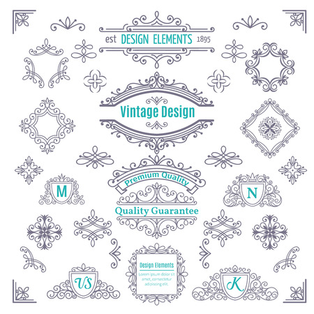 Set of Vintage Vector Line Art Calligraphic Elements .  Decorative Dividers, Borders, Swirls, Scrolls, Monograms and  Frames. Vettoriali
