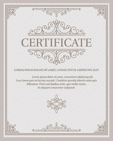 垂直テンプレートの証明書と卒業証書の通貨。ベクトルの図。