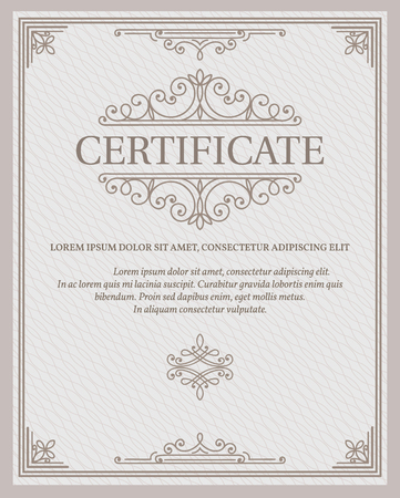 Vertical template certificate and diplomas currency. Vector illustration.