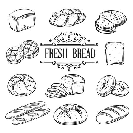 impresión: Dibujado a mano decorativos pan panadería. Ilustración del vector. Vectores