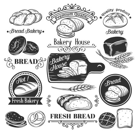 old page: Decorative bread bakery label  and vintage old page design elements. Vector illustration.