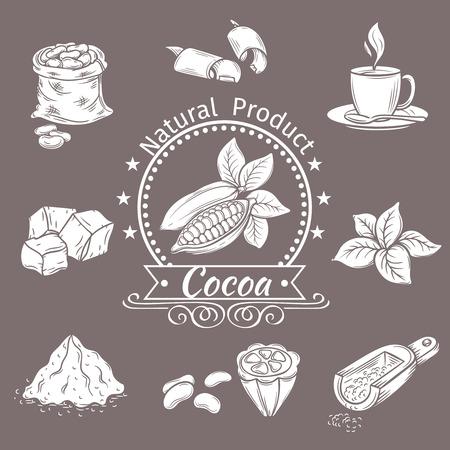 cocoa: Decorative icons set cocoa. Vector Vintage Illustration.