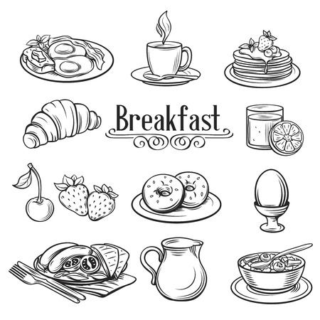 Hand drawn decorative icons breakfast . Vector Illustration.