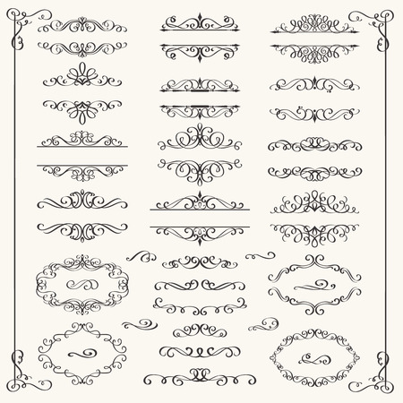 Calligraphic Design Elements . Decorative Swirls,Scrolls  and Dividers. Vintage Vector Illustration. Vettoriali