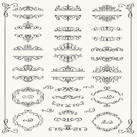 Elementos de diseño caligráfico. Remolinos decorativos, pergaminos y divisores. Ilustración de vector vintage