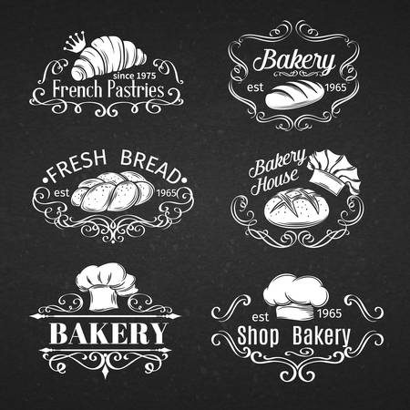 comida rica: Etiqueta de la vendimia decorativa Panadería, Elementos de diseño caligráfico. Ilustración del vector. Vectores