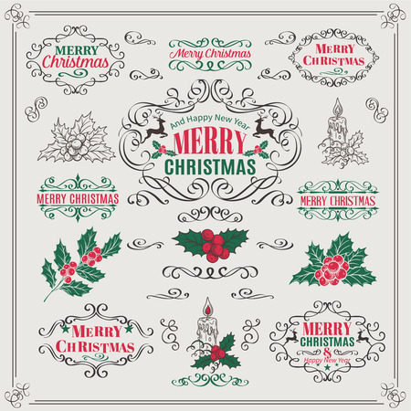 holly: Christmas Calligraphic Design Elements ,Vintage Frames and Page Decoration with berry holly and candle. Vector illustration.