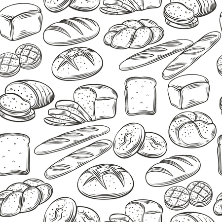 bread: Bakery Decorative Seamless Pattern. Hand Draw Bread. Vector Illustration.