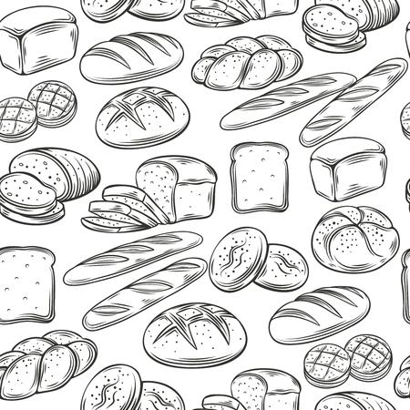 Piekarnia Dekoracyjne bez szwu deseń. Ręcznie narysować chleb. Ilustracja wektora.