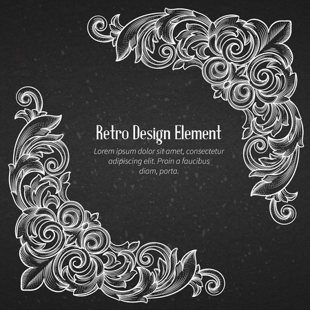 baroque: Vintage baroque corner  ornament engraving border  swirl decorative design element. Vector Illustration. Illustration