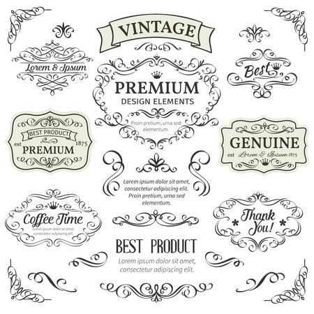 Elementos caligráficos del diseño. Decorativos remolinos, pergaminos, divisores y decoración de página. Ilustración del vector de la vendimia. Ilustración de vector