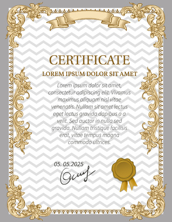 engravings: Gold Certificate of Achievement coupon award. Vintage Frame.