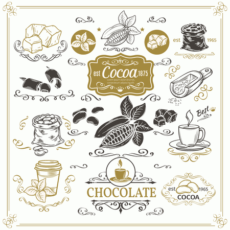 Decorative cocoa schocolate design set. Calligraphic elements, page decoration and vintage frames. Illustration