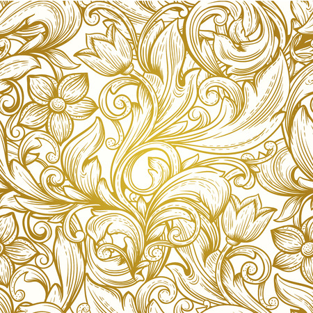 vintage gold  victorian  floral luxury vector seamless  pattern