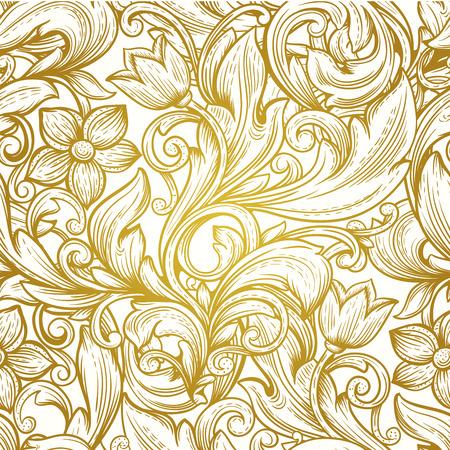 vintage goud victorian bloemen luxe vector naadloze patroon