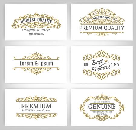 Vintage Banderas Etiquetas vectoriales Marcos. Elementos caligráficos del diseño. Decorativos remolinos, pergaminos, divisores y decoración de página.