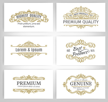 Vintage-Vektor-Banner Etiketten Frames. Calligraphic Design-Elemente. Dekorative wirbelt, blättert, Divider und Seite Dekoration. Standard-Bild - 52124308