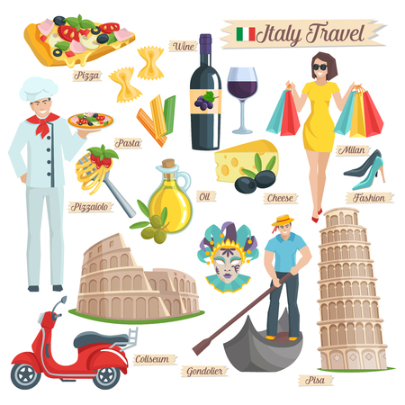 Italien Kultur Icons gesetzt. Elements of Infografiken für Reisen Coliseum Pisa Gondoliere Pizza Wein Öl Pasta Käse Koch Roller. Vektor-Illustration. Vektorgrafik