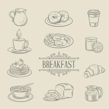petit dejeuner: D�coratif ic�nes dessin�s � la main le petit d�jeuner aliments beignes caf� bouillie de pain jus de croissant cr�pes omelette lait. Vector illustration.