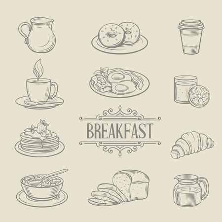 breakfast: Decorativo iconos dibujados a mano alimentos del desayuno buñuelos café jugo de croissant pan gachas de leche panqueque tortilla. Ilustración del vector.
