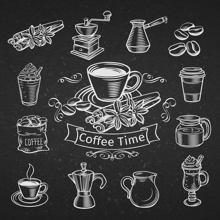 Set of hand drawn decorative coffee icons. Vector illustration Vettoriali