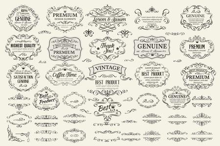 vendimia: Elementos caligráficos del diseño. Remolinos decorativos marcos etiquetas Rollos y separadores. Ilustración del vector de la vendimia.
