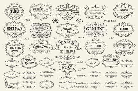 bağbozumu: Kaligrafi Tasarım Öğeleri. Dekoratif Swirls Scrolls Çerçeveler Etiketler ve Bölücüler. Vintage Vector Illustration.