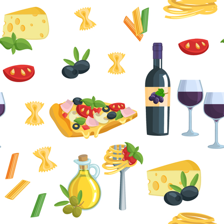 wine and food: Seamless cartoon flat background with Italian food.  Wine oil pasta pizza vector illustration.