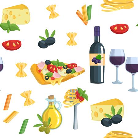food and wine: Seamless cartoon flat background with Italian food.  Wine oil pasta pizza vector illustration.