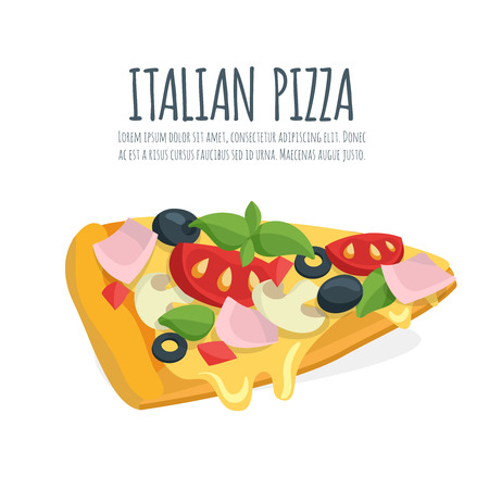 italian sausage: Italian pizza slice with mozzarella, cheese and basil leaves. Pizza vector cartoon.