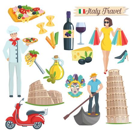 Italien Kultur Icons gesetzt. Elements of Infografiken für die Reise. Vektor-Illustration.