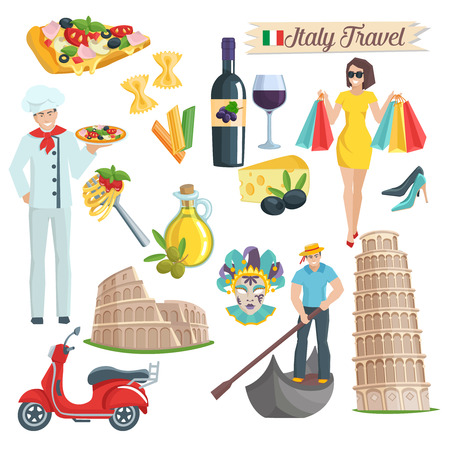 italy culture: Italy culture  icons set. Elements of infographics for travel. Vector illustration. Illustration