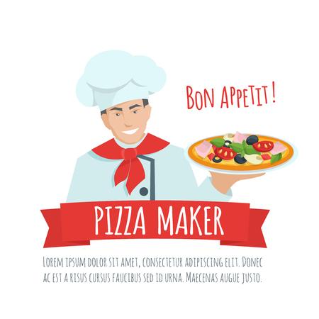 Fabricante de la pizza vector de la etiqueta. Cocinero que sostiene la pizza. La pizza fabricante de dibujos animados ilustración plana. Ilustración de vector