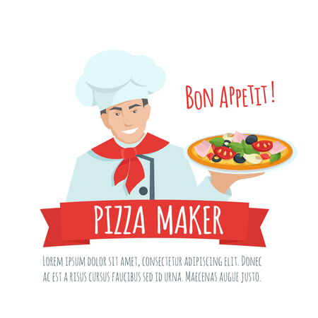sign maker: Pizza maker  label  vector. Chef holding pizza. Pizza maker  cartoon flat illustration.