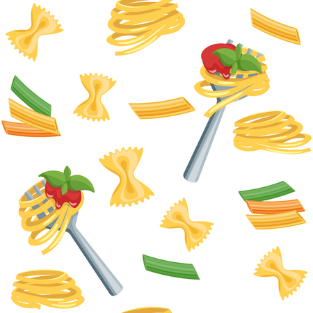 twirled: Seamless cartoon flat background with Italian pasta. Spaghetti pasta and tomato sauce twirled on a fork. Vector illustration.