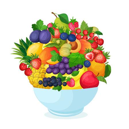 ensalada de frutas: Tazón de frutas y bayas frescas de dibujos animados. Manzana pera plátano mango fresa piña ilustración grosella cereza ciruela durazno vectorial.