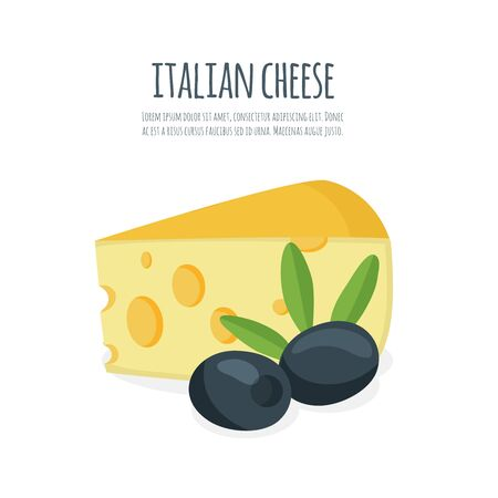 gouda: Piece of cheese with olives. Flat cheese vector illustration  icons isolated on white background.
