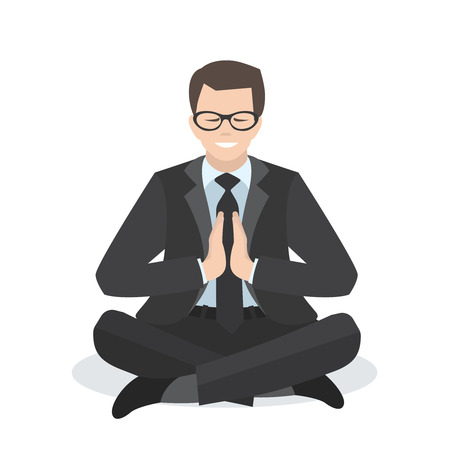 meditation man: Business man in a yoga pose. Meditation. People character design. Healthcare concept. Vector flat  illustration.