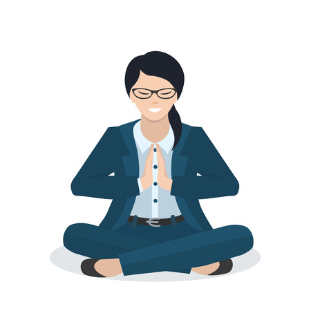 woman pose: Business woman in a yoga pose. Meditation. People character design. Healthcare concept. Vector flat  illustration.