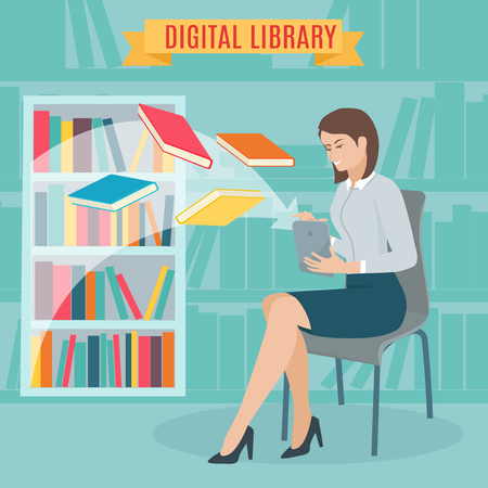 books library: Flat concept of the electronic library. Woman sitting and download e-books in the tablet. Woman sitting in library next to a shelf of books. Vector illustration. Illustration