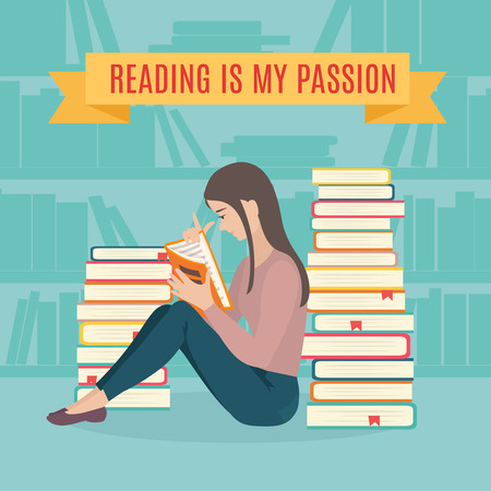 woman reading book: Young woman sitting read his favorite book . Education and school, study and literature. Flat young woman sitting in the library and reading a book. Vector illustration.