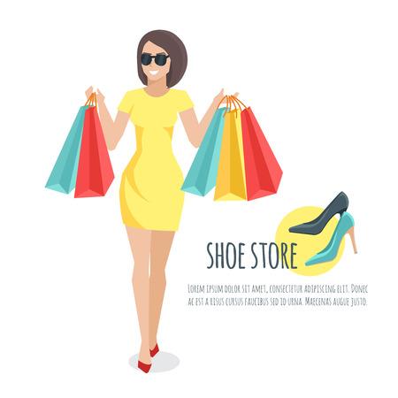 mujer joven con sus bolsas de compras. Mujer joven compró los zapatos. Joven mujer de dibujos animados de vectores plana.