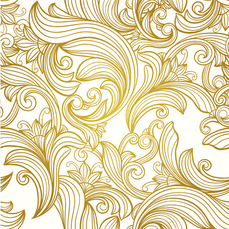 vintage gold  decorative   floral vector seamless  pattern