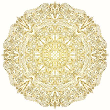 arabic motif: Round decorative lacy vintage ornament. Round vector pattern.