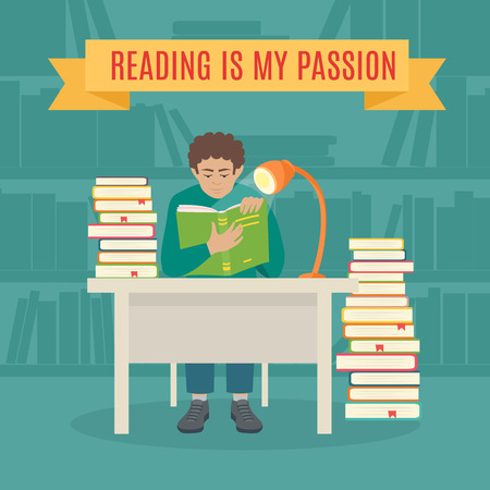 favorite book: Flat Young Man Sitting in the Library and Reading a Book. Read books vector concept. Education and school, study and literature. young man  read his favorite book . Illustration