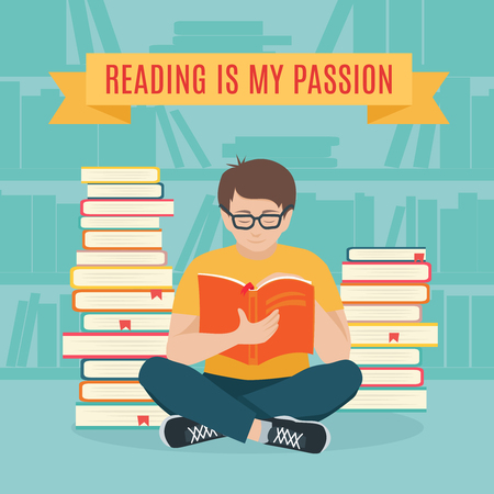 storyteller: Young man sitting read his favorite book . Education and school, study and literature. Flat young man sitting in the library and reading a book. Vector illustration.