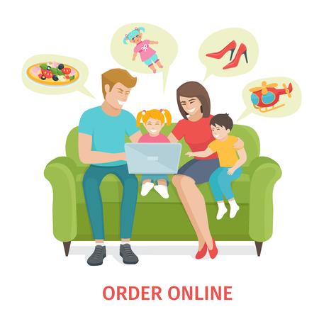mama e hijo: Diseño plano colorido concepto para ordenar los regalos en línea y el servicio de entrega. De dibujos animados feliz ilustración vectorial familia. Familia de cuatro personas hacen compras a través de la sesión de Internet en el sofá