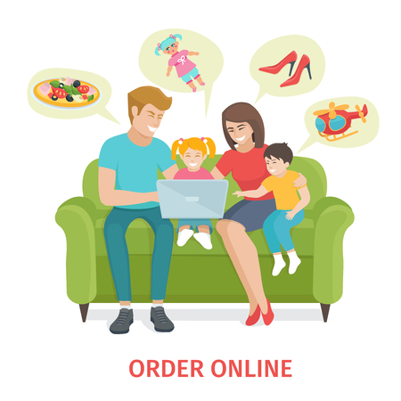 mom son: Flat design colorful  concept  for online gifts ordering and delivery service. Cartoon Happy family vector illustration.  Family of four make purchases through the internet sitting on the couch Illustration